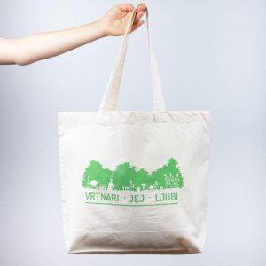 Nakupovalna vrečka iz organskega bombaža z vrtnarskim motivom